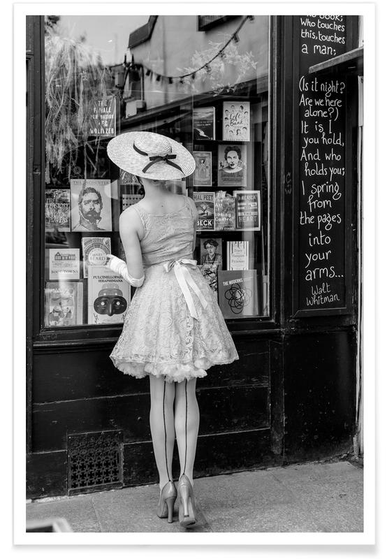 Schwarz & Weiß, Vintage Girl Window Shopping -Poster