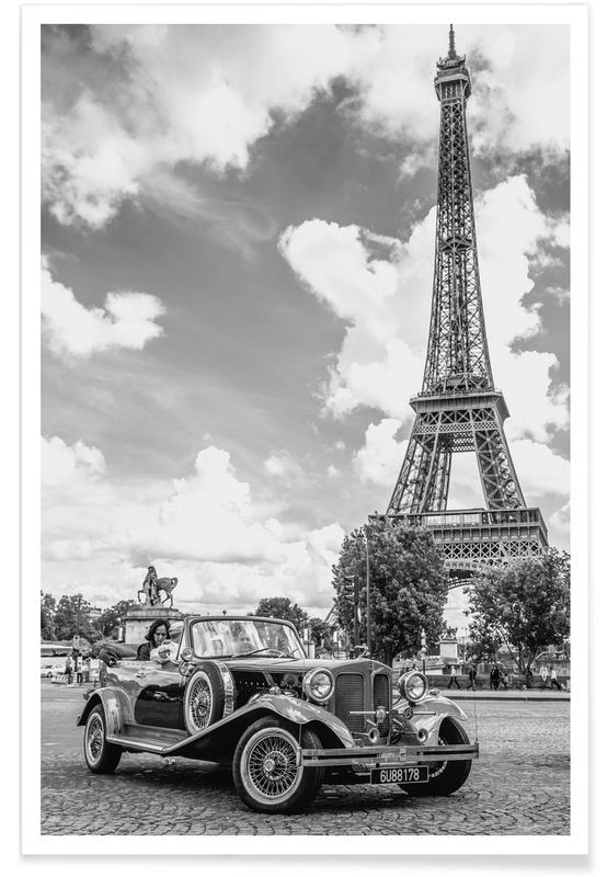 Cars, Paris, Vintage Car & Eiffel Poster
