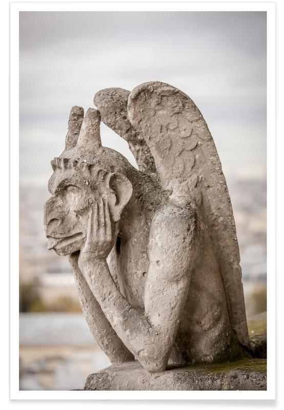 Architectural Details, Travel, Stryge  Notre Dame Poster