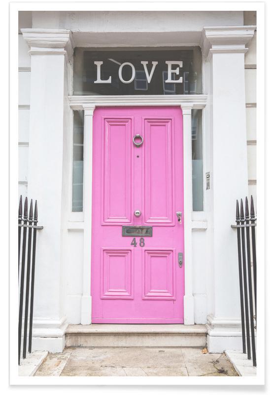 Architectural Details, Pink Love Door London Poster
