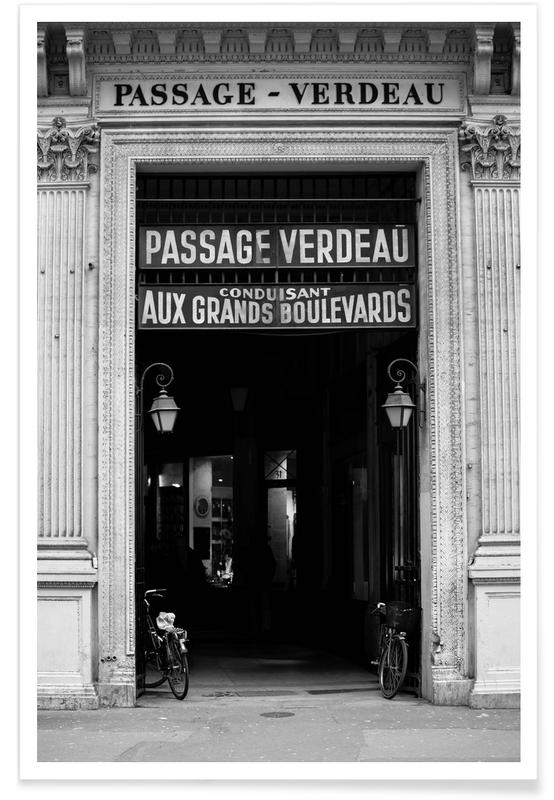Paris, Monuments et vues, Noir & blanc, Passage Verdeau affiche