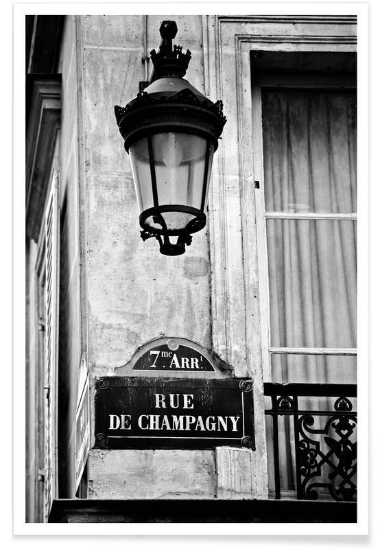 Black & White, Paris, Sights & Landmarks, Rue de Champagny Poster