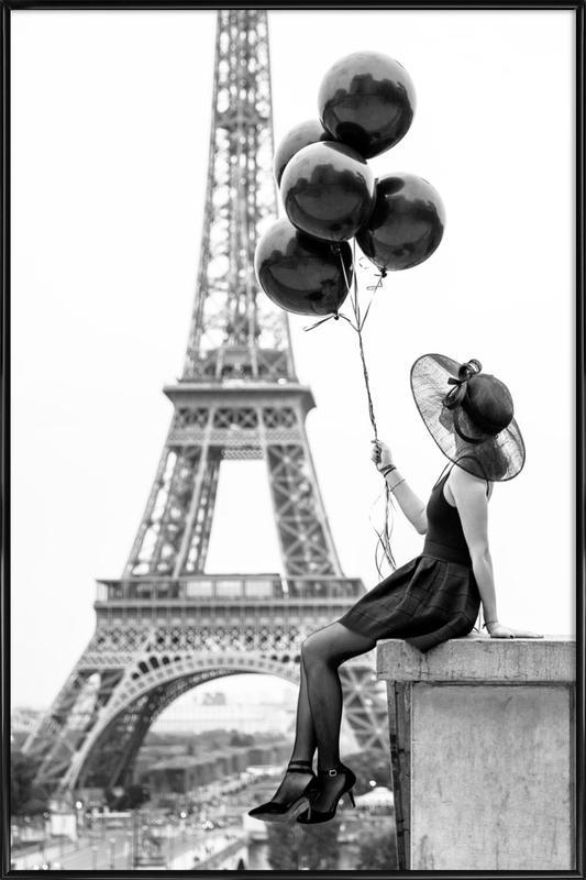 Black Balloons -Bild mit Kunststoffrahmen