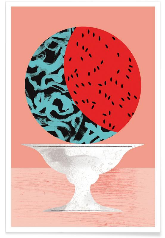 Fraises, Pastèque - Illustration affiche