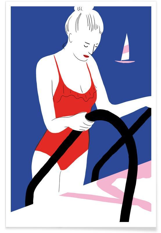 Dame et bateau - Illustration affiche