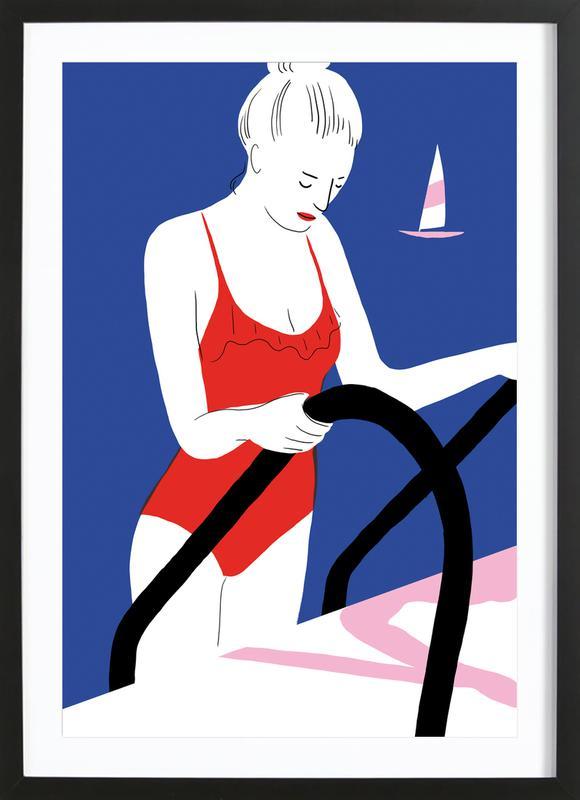 Hot Hot Summer - Lady and Boat -Bild mit Holzrahmen