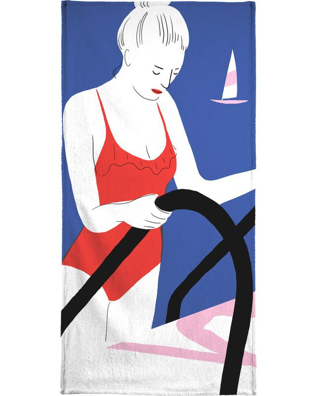 Hot Hot Summer - Lady and Boat -Handtuch