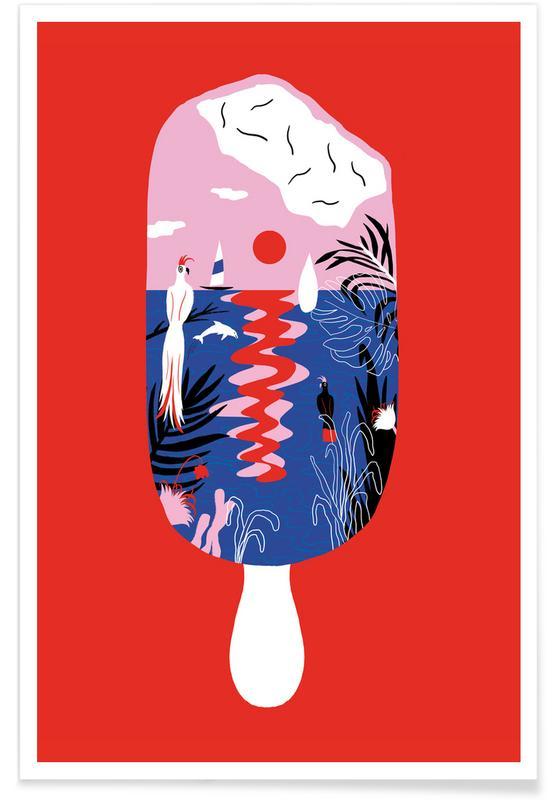 Paradise Ice Cream Illustration Poster