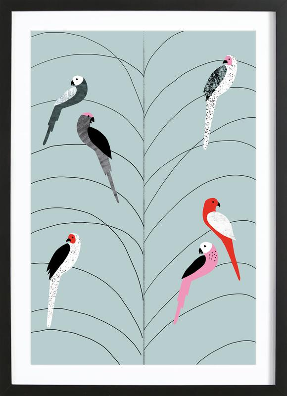 Tropicana - Birds on Branch Grey Framed Print
