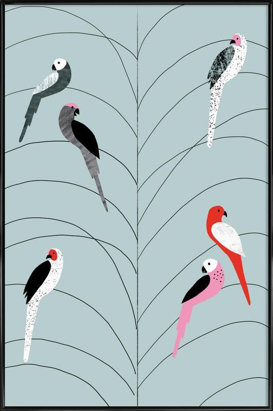 Tropicana - Birds on Branch Grey -Bild mit Kunststoffrahmen
