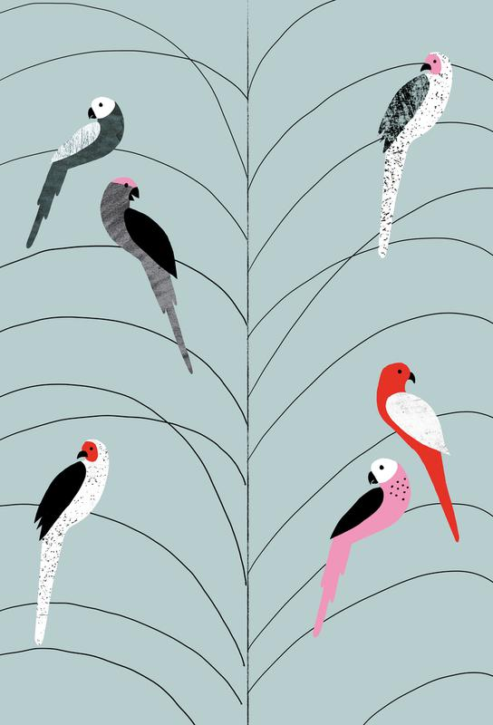 Tropicana - Birds on Branch Grey Aluminium Print