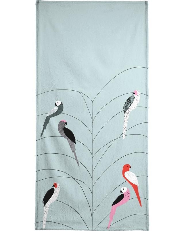 Tropicana - Birds on Branch Grey -Strandtuch
