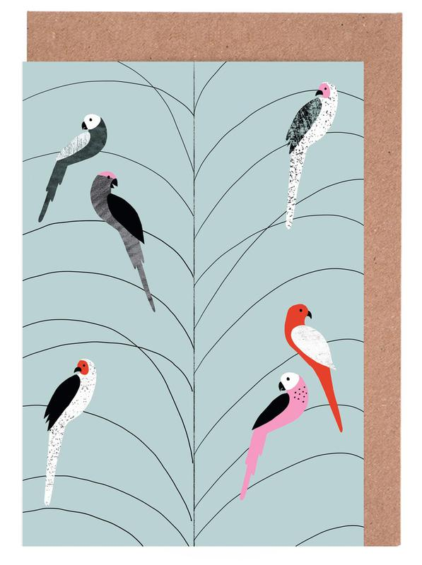 Tropicana - Birds on Branch Grey Greeting Card Set