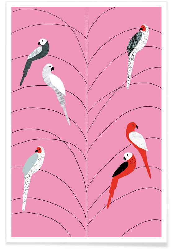 Vögel auf Ästen-Rosa-Illustration -Poster