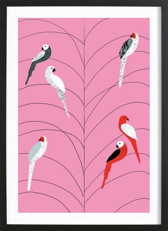 Tropicana - Birds on Branch Pink affiche sous cadre en bois