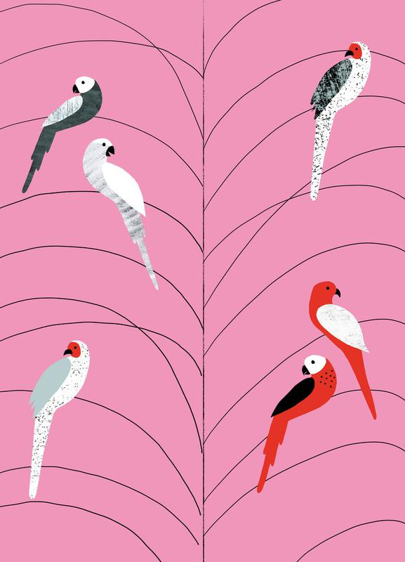 Tropicana - Birds on Branch Pink Canvas Print