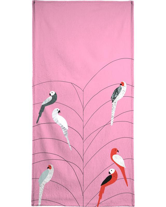 Tropicana - Birds on Branch Pink serviette de plage