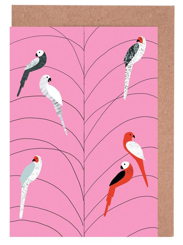 Tropicana - Birds on Branch Pink Greeting Card Set