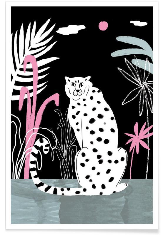 Guépards, Guépard et jungle - Illustration affiche