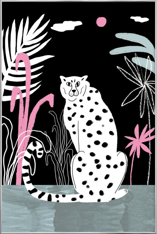 Tropicana - Cheetah and Jungle Poster in Aluminium Frame