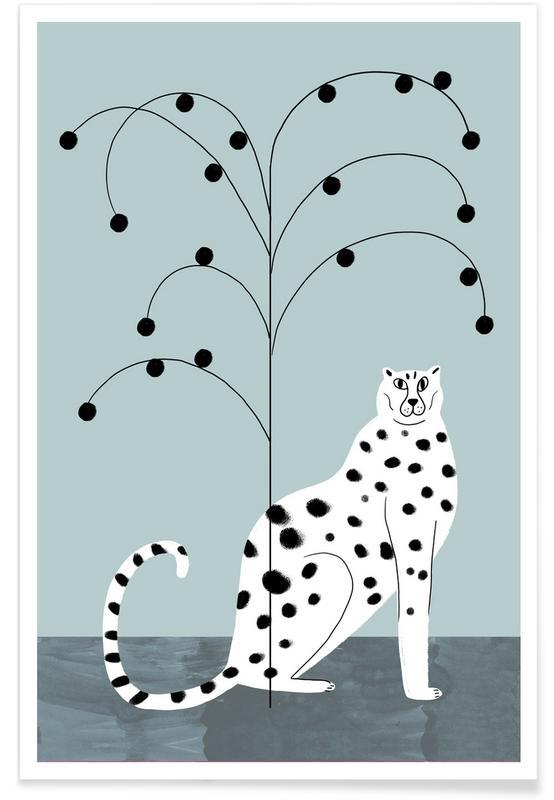 Guépards, Guépard et arbre - Illustration affiche