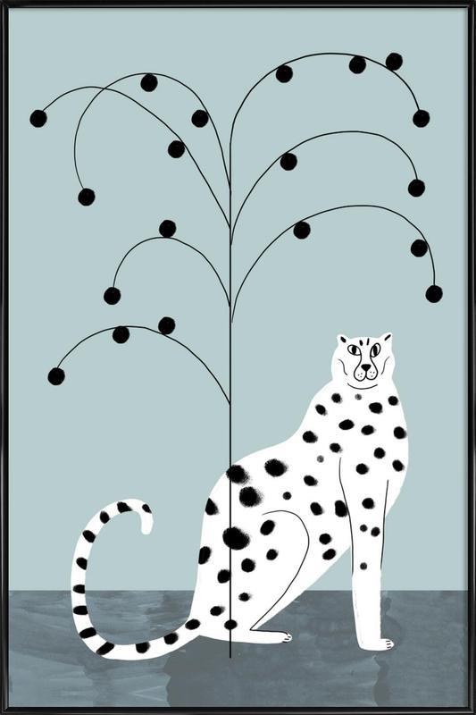 Tropicana - Cheetah and Tree -Bild mit Kunststoffrahmen