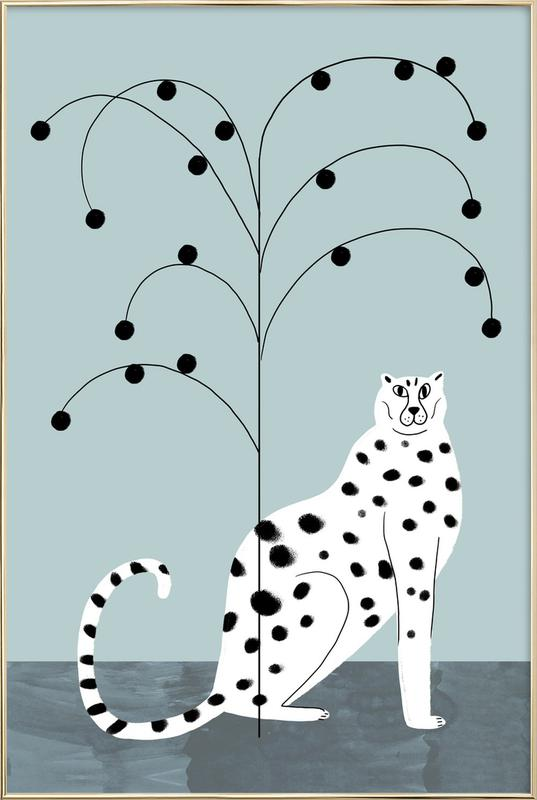 Tropicana - Cheetah and Tree Poster in Aluminium Frame