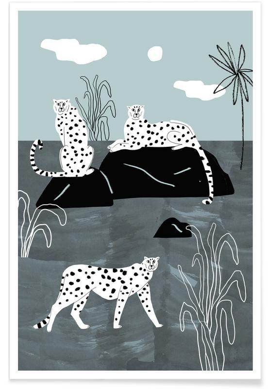 Guépards, Palmier royale - Illustration affiche