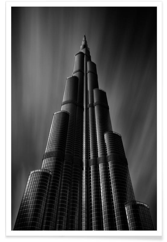 Schwarz & Weiß, Sehenswürdigkeiten & Wahrzeichen, Wolkenkratzer & Hochhäuser, Burj Khalifa Study 1 -Poster
