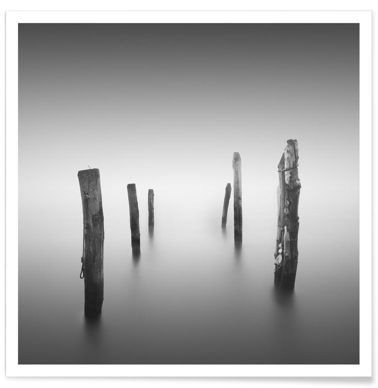 Noir & blanc, Océans, mers & lacs, Nebbia Posta affiche