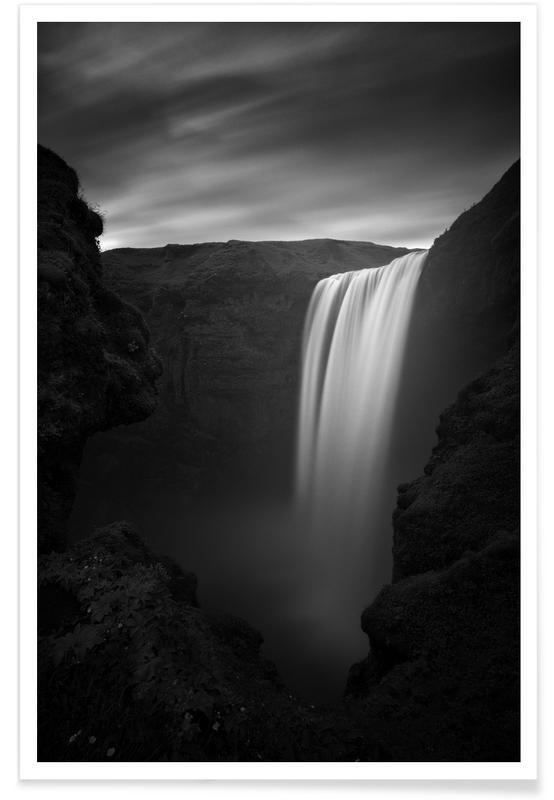 Noir & blanc, Skogafoss Study 1 affiche