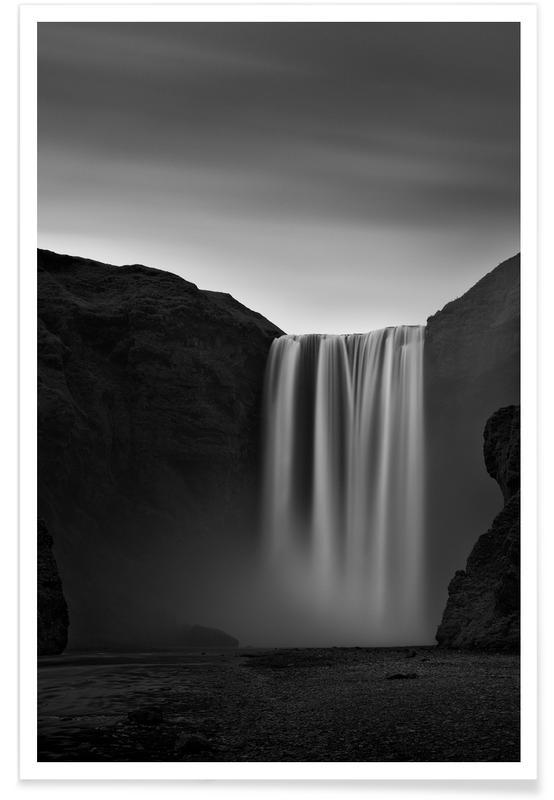 Noir & blanc, Skogafoss Study 2 affiche