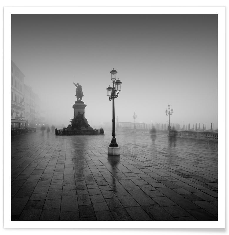 Venise, Noir & blanc, Vittorio Emanuele Il Nella Nebbia affiche