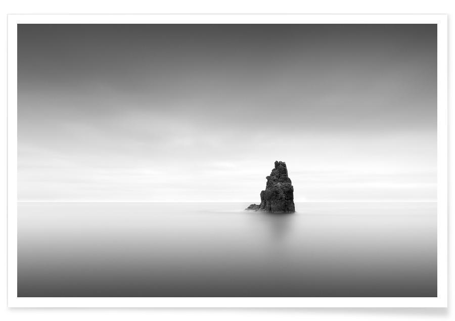 Schwarz & Weiß, Ozeane, Meere & Seen, Reise, Rocha Solitária -Poster