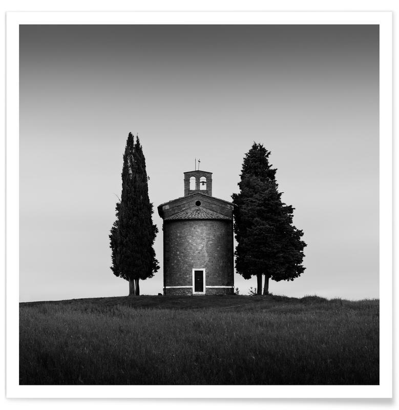 Détails architecturaux, Noir & blanc, Cappella Madonna Di Vitaleta affiche