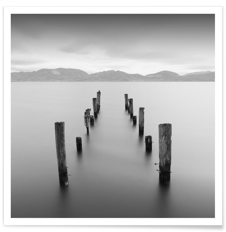 Océans, mers & lacs, Noir & blanc, Lago Di Massaciuccoli affiche
