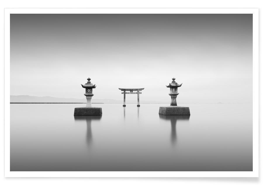 Océans, mers & lacs, Noir & blanc, Einootsurugi Shrine I affiche
