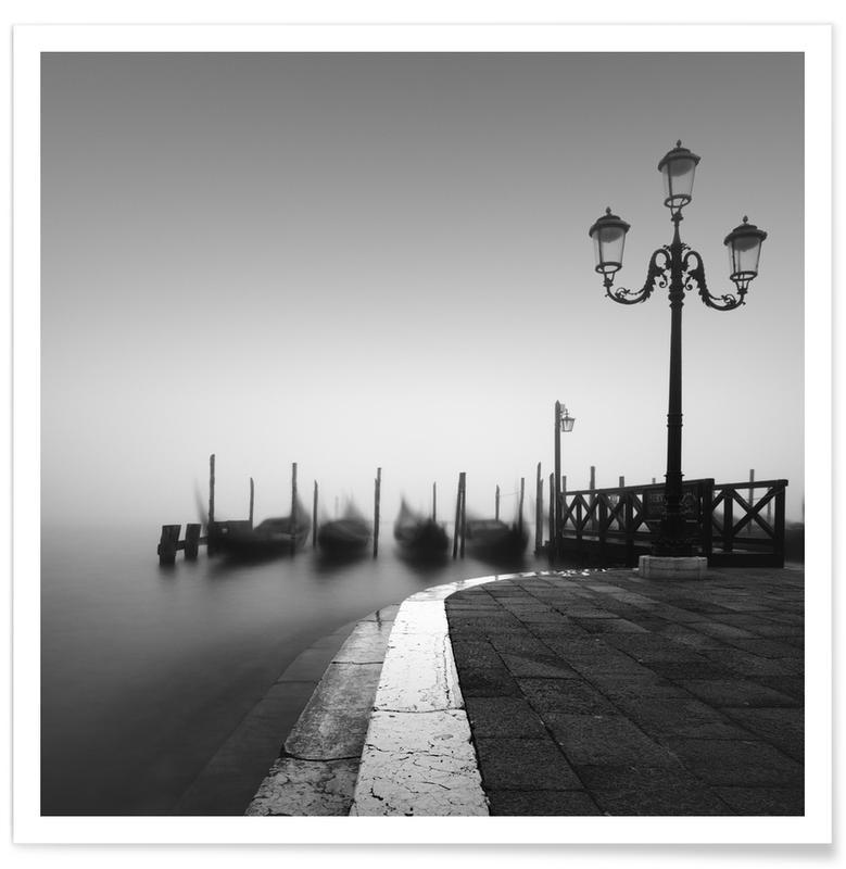 Bateaux, Noir & blanc, Venise, Gondola Study 1 affiche