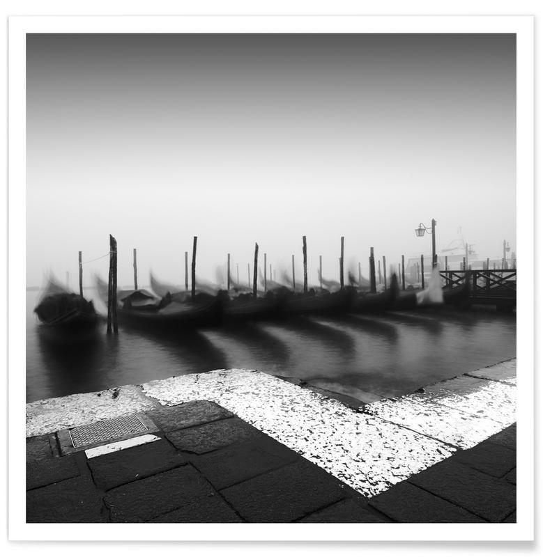 Bateaux, Noir & blanc, Venise, Gondola Study 2 affiche