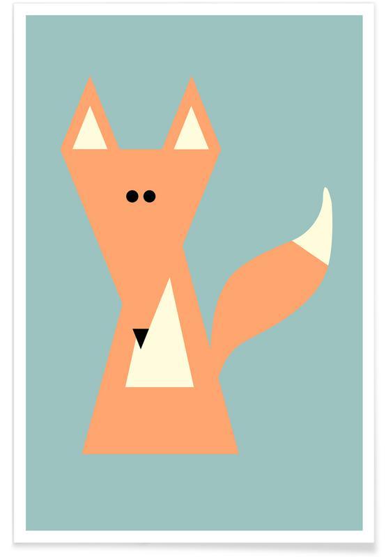Renards, Art pour enfants, Ray the Fox affiche