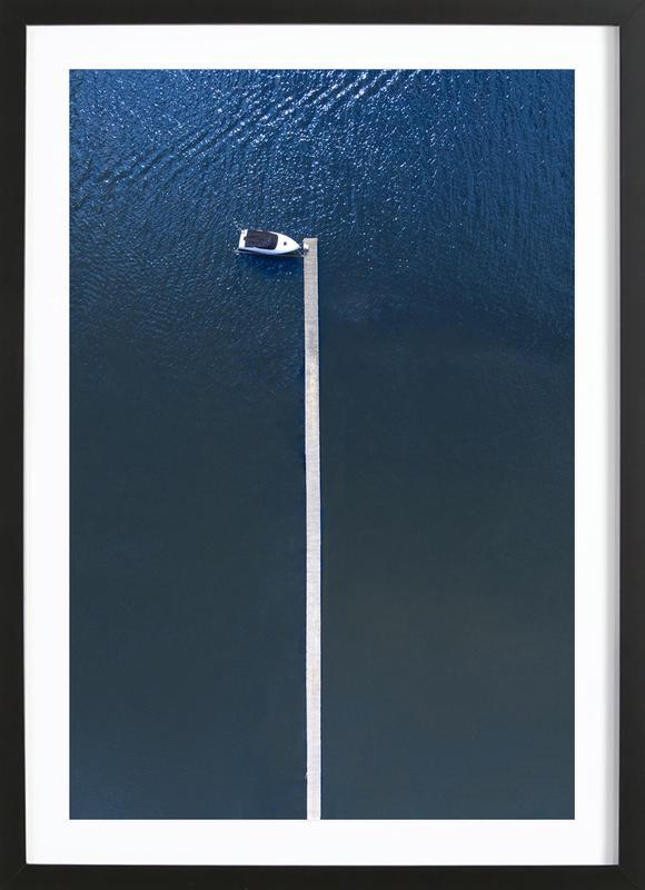 Lonely Boat -Bild mit Holzrahmen
