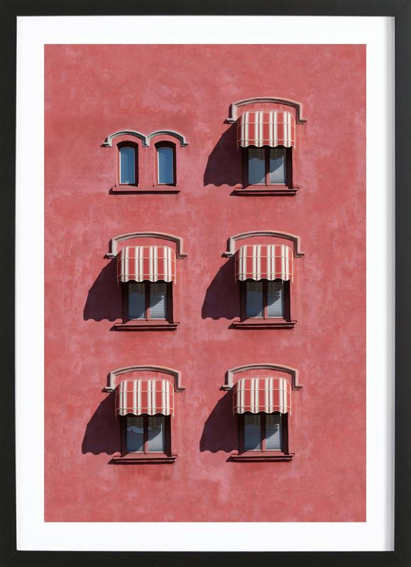 Red Vintage Wall ingelijste print
