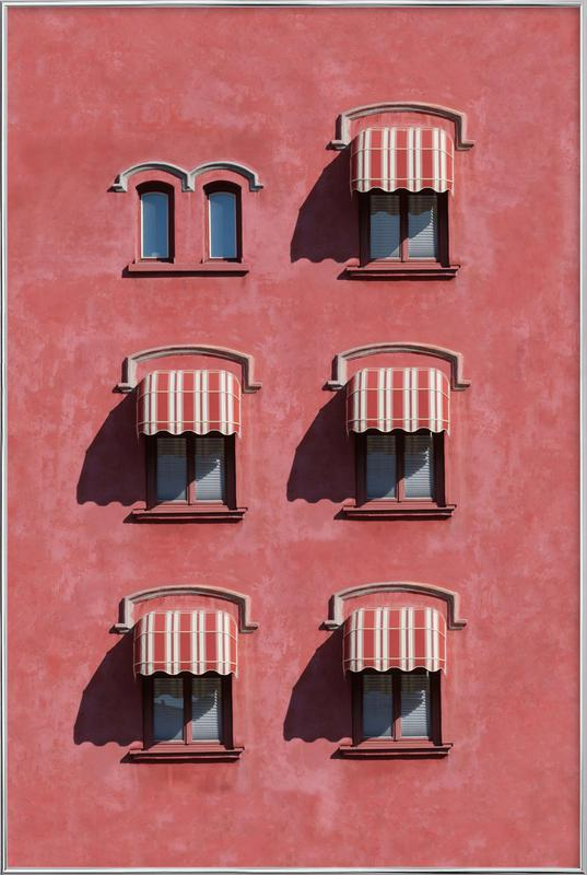 Red Vintage Wall affiche sous cadre en aluminium
