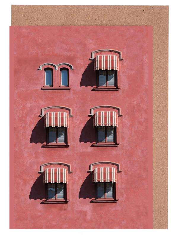Red Vintage Wall -Grußkarten-Set