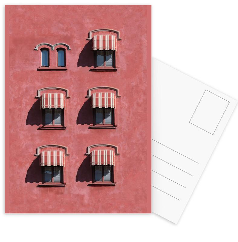 Red Vintage Wall -Postkartenset