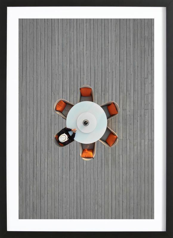 Lonely Lunch -Bild mit Holzrahmen