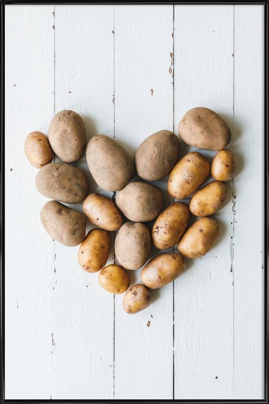 Kartoffelherz -Bild mit Kunststoffrahmen