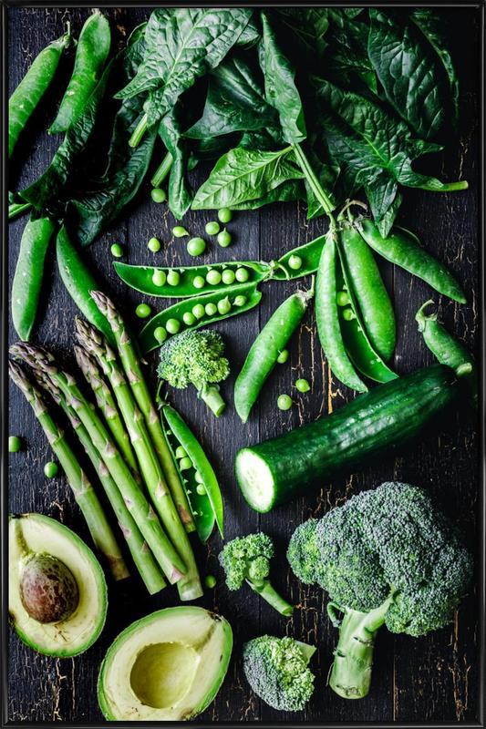 Grünes Gemüse -Bild mit Kunststoffrahmen