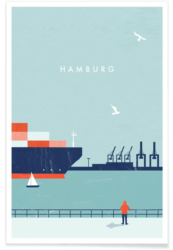 Rejser, Vintage rejser, Retro Hamburg Plakat