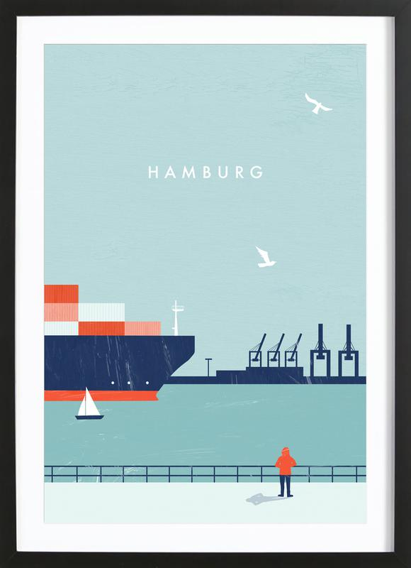 Hamburg -Bild mit Holzrahmen